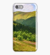 meadow with purple flowers in Carpathian mountains in summer iPhone Case/Skin