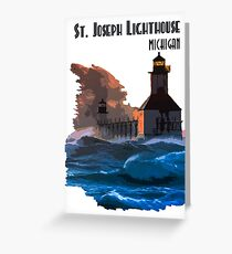 St Joseph Lighthouse during a storm Greeting Card