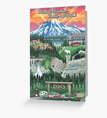 Mount Rainier National Park Vintage View Travel Decal Greeting Card