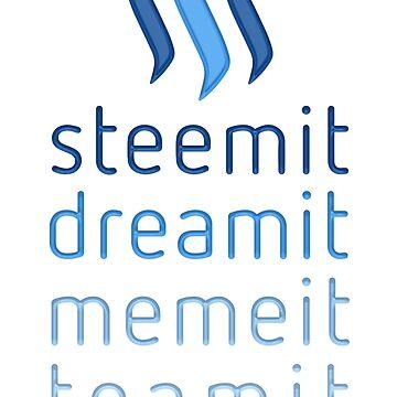 Steemit.com - Dream it, Meme It, Team it - Steemit! (Blue) by neekos