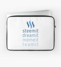 Steemit.com - Dream it, Meme It, Team it - Steemit! (Blue) Laptop Sleeve