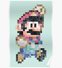 Mario World Jump Vintage Pixels Poster