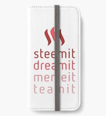 Steemit.com - Dream it, Meme It, Team it - Steemit! (Red) iPhone Wallet/Case/Skin