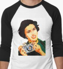 Woman with photo camera, vintage poster Men's Baseball ¾ T-Shirt