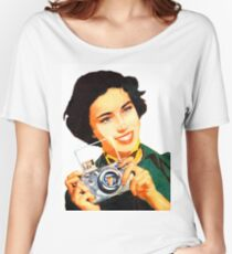 Woman with photo camera, vintage poster Women's Relaxed Fit T-Shirt