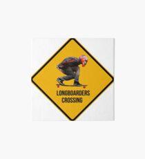 Longboarders crossing caution sign. Art Board