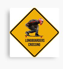 Longboarders crossing caution sign. Canvas Print