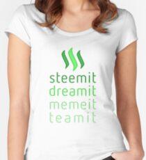 Steemit.com - Dream it, Meme It, Team it - Steemit! (Green) Women's Fitted Scoop T-Shirt