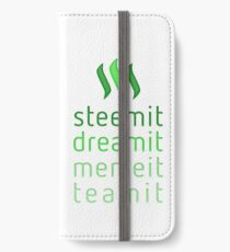 Steemit.com - Dream it, Meme It, Team it - Steemit! (Green) iPhone Wallet/Case/Skin