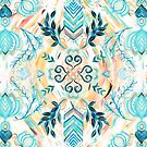 Abstract Painted Boho Pattern in Cyan & Teal  by micklyn