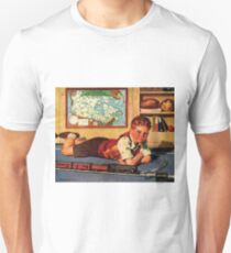 Kid is playing with his toy train, vintage poster T-Shirt