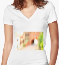 Pastel Green Women's Fitted V-Neck T-Shirt