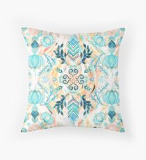 Abstract Painted Boho Pattern in Cyan & Teal  Throw Pillow