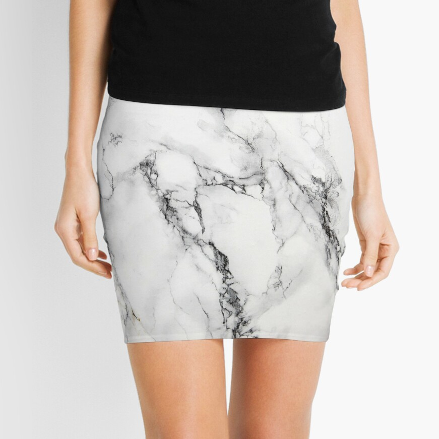 White Marble  Mini Skirt