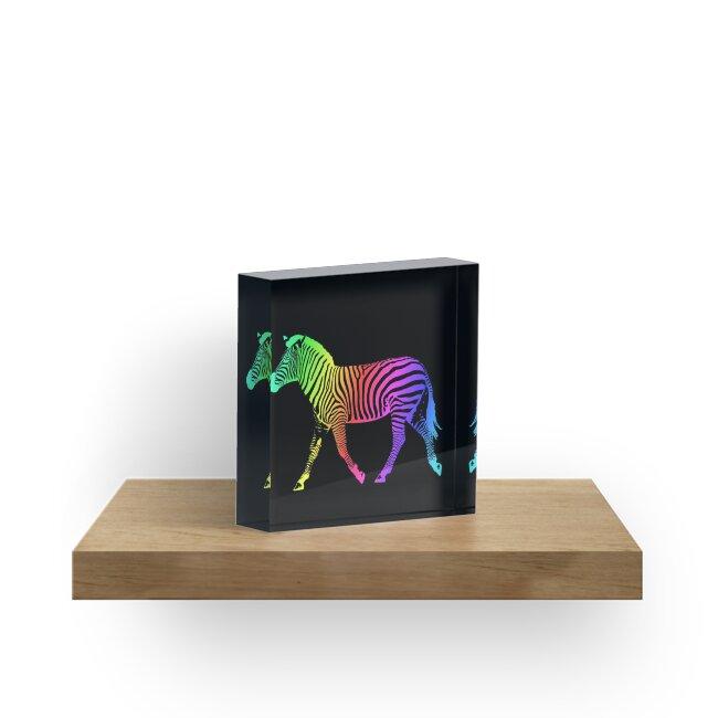 Studio Dalio - Inverted Rainbow Zebra Acrylic Block