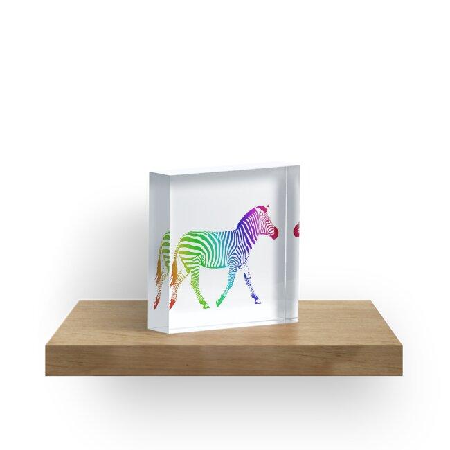Studio Dalio - Rainbow Zebra Acrylic Block
