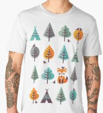 Fox in the Forest - on Gray Men's Premium T-Shirt