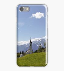 Tyrolean church with Alps in the background iPhone Case/Skin