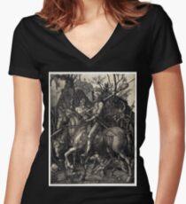 Albrecht Dürer Knight, Death and the Devil Women's Fitted V-Neck T-Shirt
