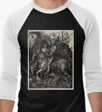 Camiseta ¾ bicolor para hombre Albrecht Dürer Knight, La Muerte y el Diablo