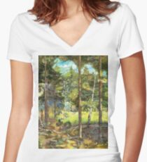 Pine forest Women's Fitted V-Neck T-Shirt