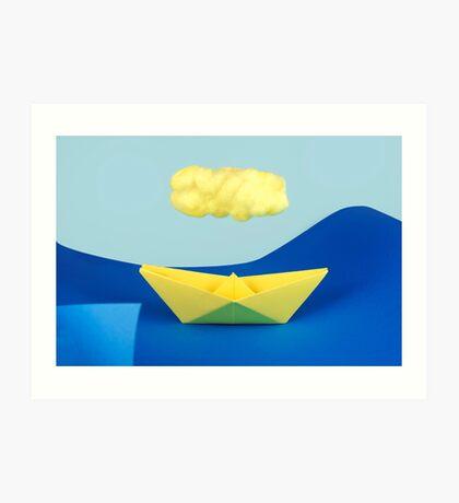 Die gelbe Wolke über dem gelben Schiff Kunstdruck