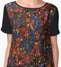 Abstract #10 Chaos in Red & Blue Women's Chiffon Top