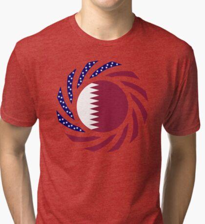 Qatari American Multinational Patriot Flag Series Tri-blend T-Shirt