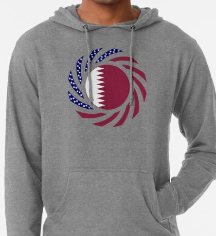 Qatari American Multinational Patriot Flag Series Lightweight Hoodie