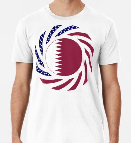 Qatari American Multinational Patriot Flag Series Premium T-Shirt