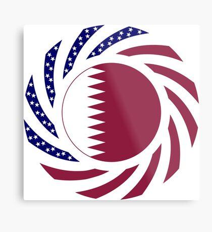 Qatari American Multinational Patriot Flag Series Metal Print