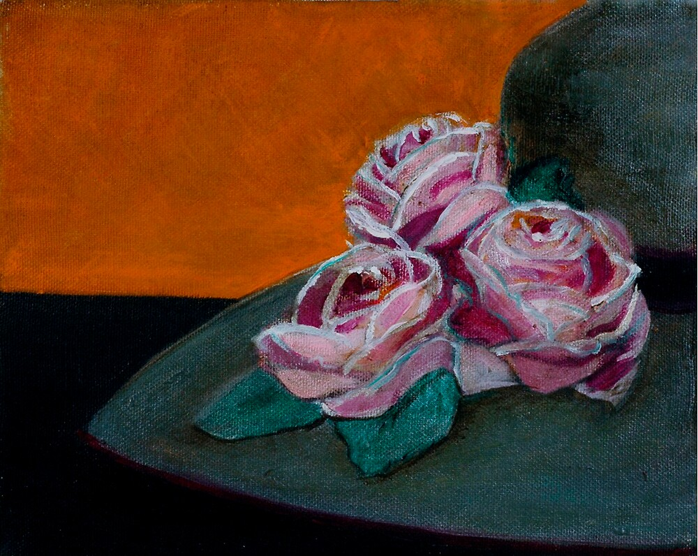 PINK ROSES GREY HAT by Dalzenia Sams