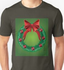 Christmas wreath with red bow T-Shirt