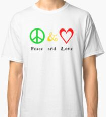 Peace and Love on white Classic T-Shirt