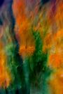 Fleur Blur-Abstract Orange Safflowers & Green Leaves by AhUmDesign