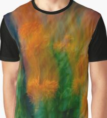 Fleur Blur-Abstract Orange Safflowers & Green Leaves Graphic T-Shirt