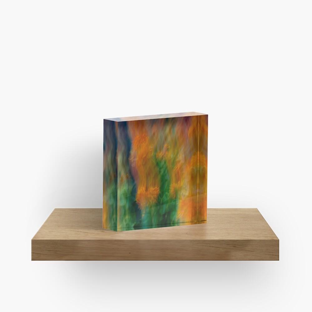 Fleur Blur-Abstract Orange Safflowers & Green Leaves Acrylic Block