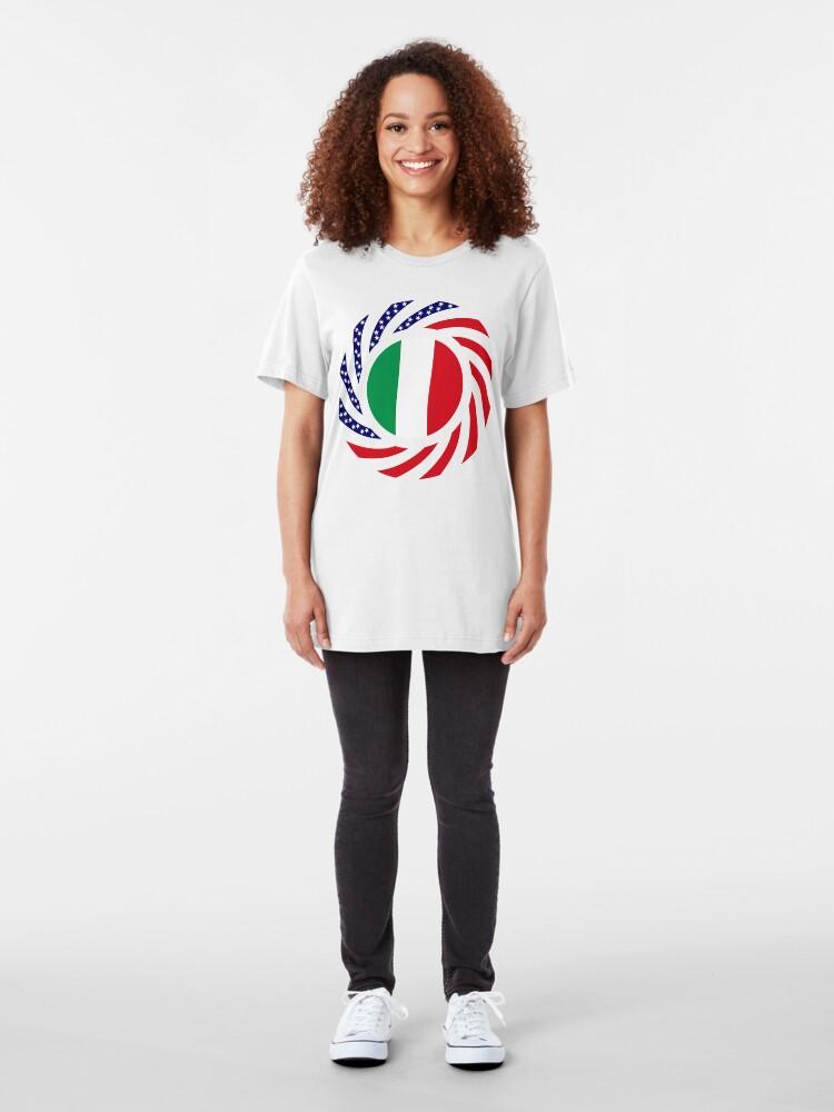 Alternate view of Italian American Multinational Patriot Flag Series Slim Fit T-Shirt