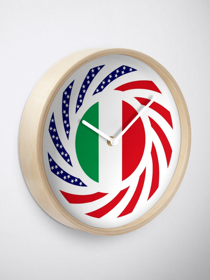 Alternate view of Italian American Multinational Patriot Flag Series Clock