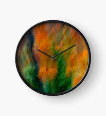 Fleur Blur-Abstract Orange Safflowers & Green Leaves Clock
