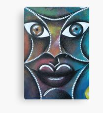 Face on colorful abstract background Canvas Print