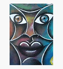 Face on colorful abstract background Photographic Print