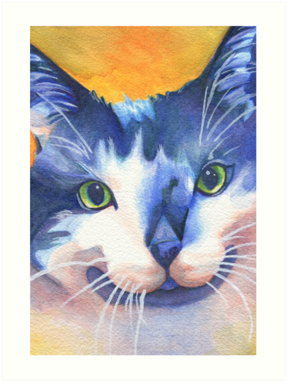 Black and White Cat- Watercolor Painting - Pet Portrait Art by Shannon Connolly