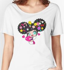 Cute little girl with candy in her hair, wings and hearts Women's Relaxed Fit T-Shirt