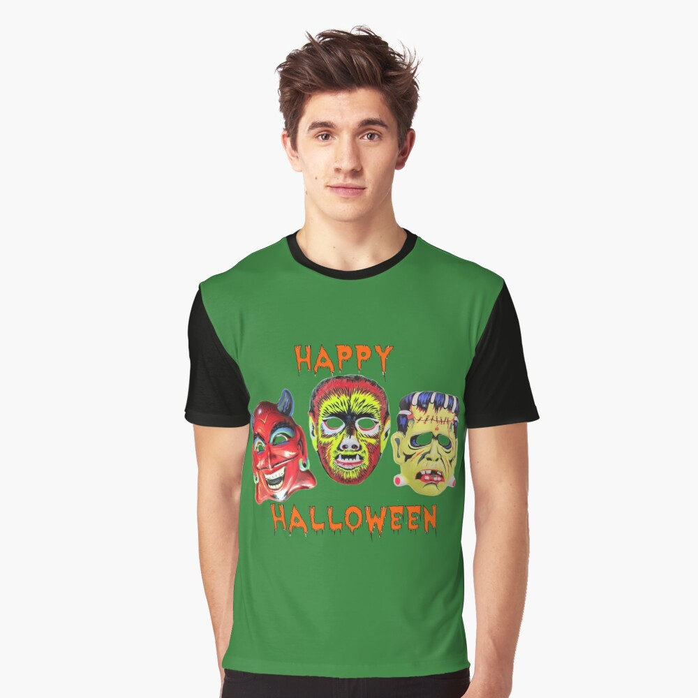 Happy Halloween With Vintage Masks Graphic T-Shirt Front