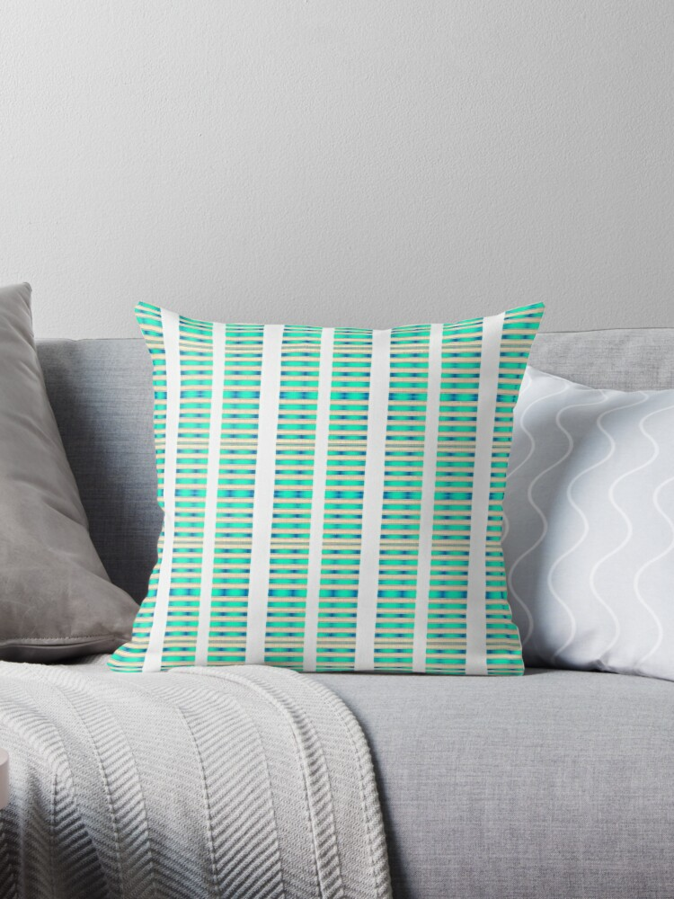 Aqua and White Textured Stripe Clean Design by Sheila Wenzel Ganny