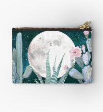 Cactus Nights Pretty Pink and Blue Desert Stars Cacti Illustration Studio Pouch