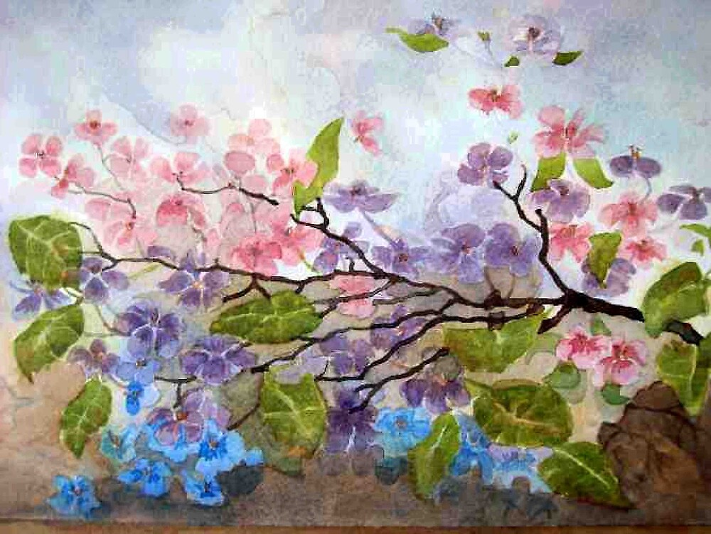 Cherry Bloosoms various watercolor painting by coolart