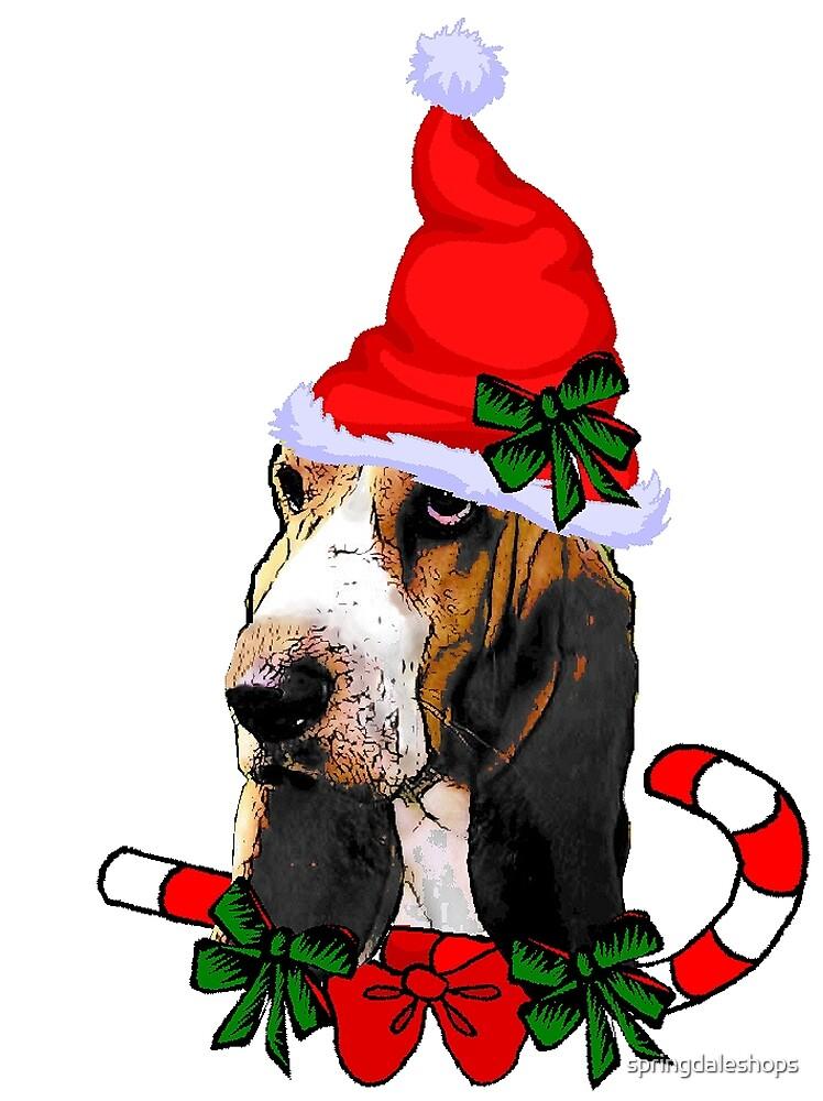 Basset Hound Christmas Santa Hat by springdaleshops