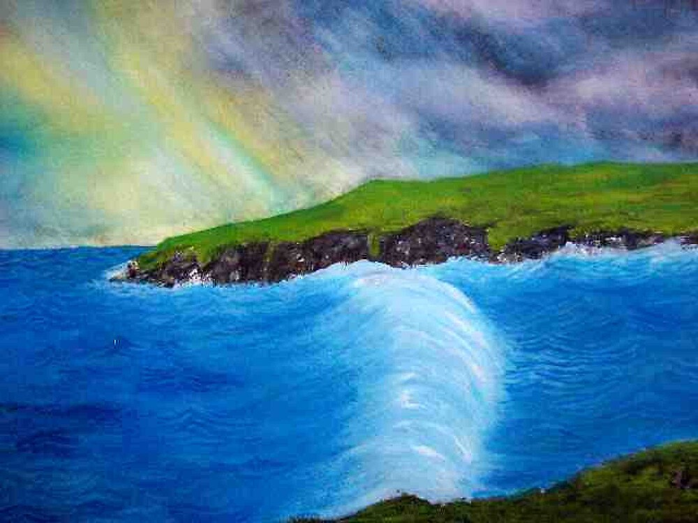 Seascape oil and watercolour painting by coolart